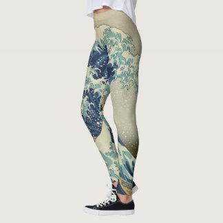 """""""La gran onda"""" por Hokusai Leggings"""