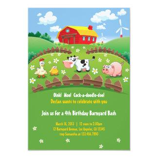 La granja del corral embroma invitaciones del invitación 12,7 x 17,8 cm