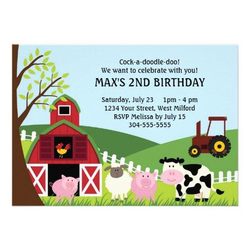 La granja embroma cumpleaños invitacion personal