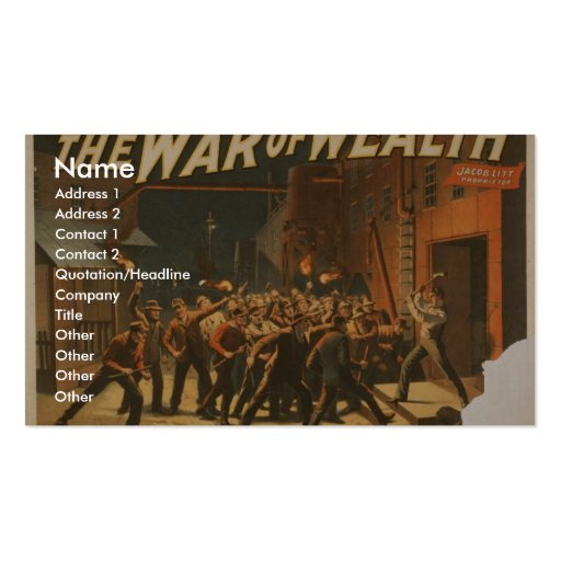 La guerra de la riqueza plantilla de tarjeta personal