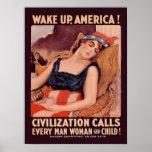 La guerra mundial del vintage 1 despierta América Póster