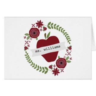 La guirnalda floral Apple rojo personalizó al prof Tarjetas