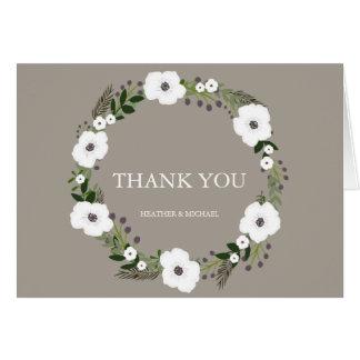 La guirnalda floral le agradece las notas - de tarjeta pequeña
