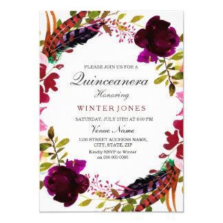 La guirnalda floral púrpura Quinceanera de Borgoña Invitación 12,7 X 17,8 Cm