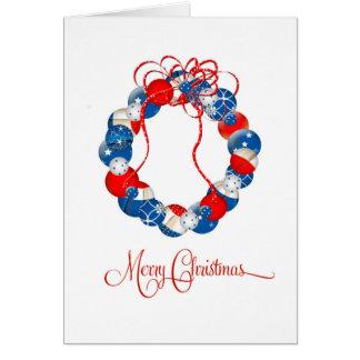 La guirnalda patriótica del navidad protagoniza y tarjeta