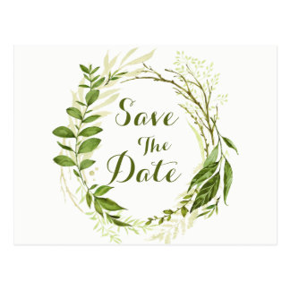 La guirnalda y los laureles verdes ahorran el boda postal