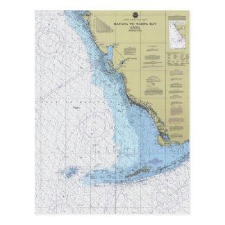 La Habana a la carta náutica Postcar de Tampa Bay Postal