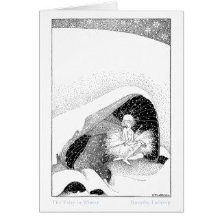 La hada en la tarjeta 1 del invierno