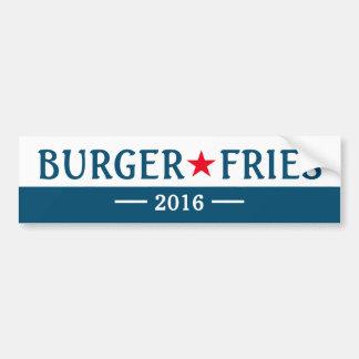 La hamburguesa fríe a la pegatina para el pegatina para coche