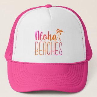 La hawaiana vara el gorra rosado y anaranjado del