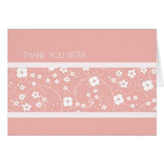 La hermana de las flores del rosa le agradece tarjeta de felicitación