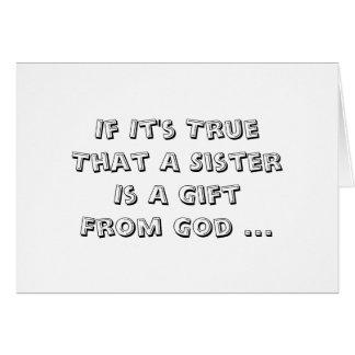 La hermana es regalo de dios, del cumpleaños, del tarjeta de felicitación