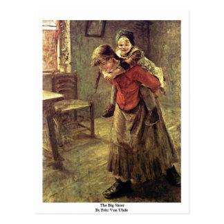 La hermana grande de Fritz Von Uhde Tarjetas Postales