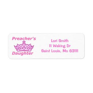La hija del predicador etiqueta de remitente
