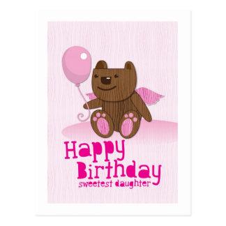 ¡La hija más dulce del oso del feliz cumpleaños! Postal
