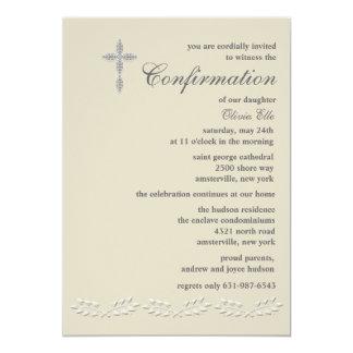 La hoja acentúa la invitación de la confirmación invitación 12,7 x 17,8 cm