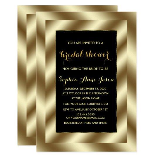 La hoja de oro atractiva y la ducha nupcial negra invitación 12,7 x 17,8 cm