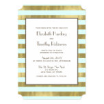 La hoja de oro azul raya la invitación del boda invitación 12,7 x 17,8 cm