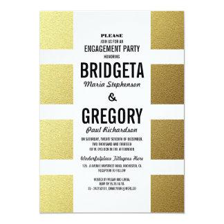 La hoja de oro raya al fiesta de compromiso invitación 12,7 x 17,8 cm