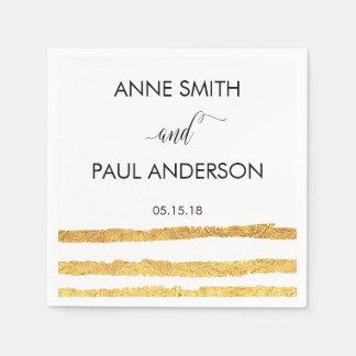 La hoja de oro raya servilletas del boda servilletas de papel