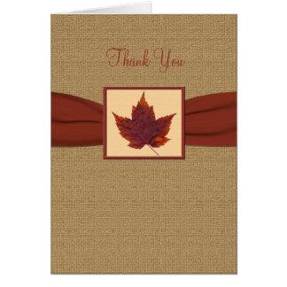 La hoja del otoño le agradece tarjeta de nota