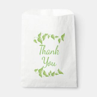 La hoja verde le agradece las hojas del boda bolsa de papel