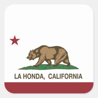 La Honda de la bandera de la república de Californ Calcomanias Cuadradas