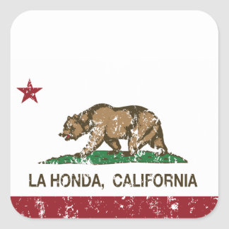 La Honda de la bandera de la república de Californ Calcomanía Cuadradase