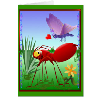 La hormiga de fuego y el Mariposa-Amor púrpura Tarjeta De Felicitación