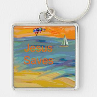 La iglesia curativa Jesús de la esperanza ahorra Llavero Cuadrado Plateado