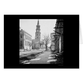 La iglesia de San Miguel en Charleston, SC 1865 Tarjeton
