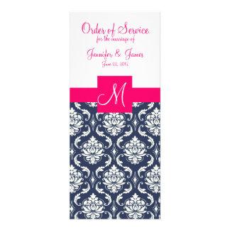 La iglesia del boda programa el damasco azul rosad invitacion personal