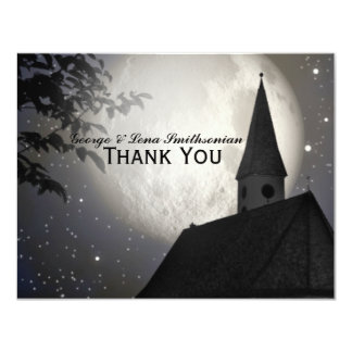 La iglesia del país de la luna de la noche le invitación 10,8 x 13,9 cm