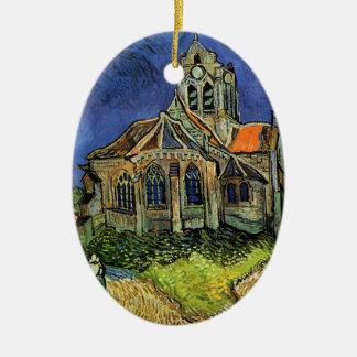 La iglesia en Auvers de Vincent van Gogh Adorno Navideño Ovalado De Cerámica