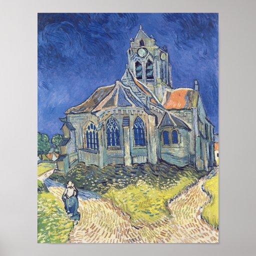 La iglesia en el Auvers-sur-Oise Póster