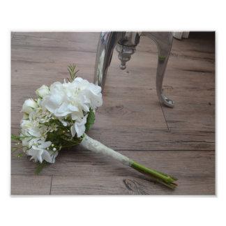 La impresión de la bella arte del ramo de la novia foto