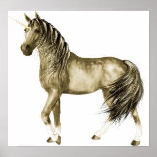 la impresión de oro del unicornio póster