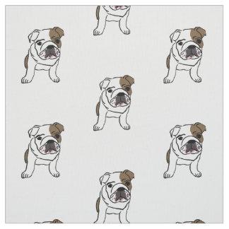 La impresión inglesa del perrito del dogo persigue telas