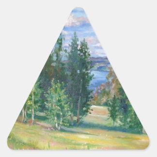 La inmensidad de la naturaleza pegatina triangular