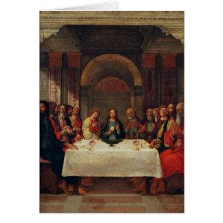 La institución de la eucaristía, c.1490 tarjeta de felicitación