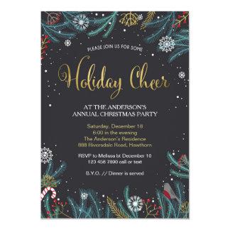 La invitación de la fiesta de Navidad, alegría del