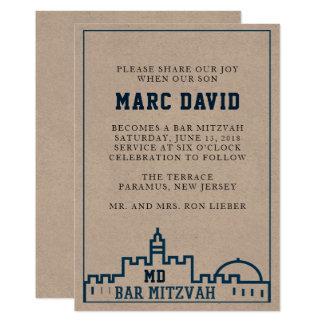 La invitación de Mitzvah de la barra de Kotel - de