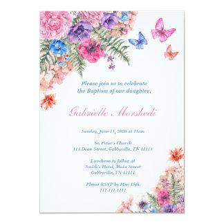 La invitación del bautismo, bautismo floral, Boho