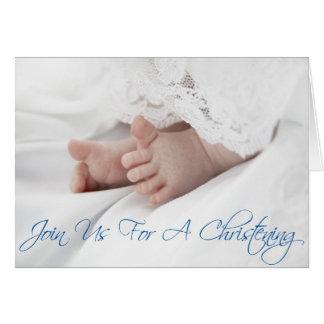 La invitación del bautizo para el bebé enrolla tarjeta de felicitación