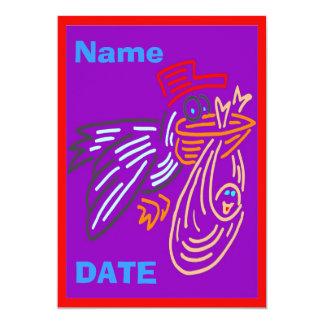 La invitación del bebé, corrige el nombre, colores