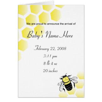 La invitación del bebé manosea la abeja y la colme tarjeta de felicitación