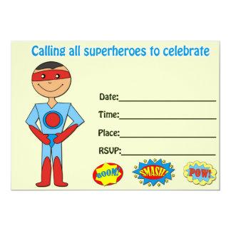 La invitación del cumpleaños del super héroe