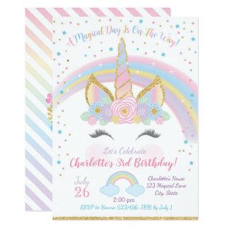 La invitación del cumpleaños del unicornio, fiesta