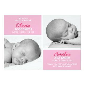 La invitación del nacimiento de los gemelos/le