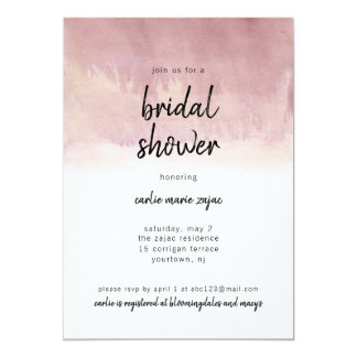 La invitación nupcial de la ducha se ruboriza